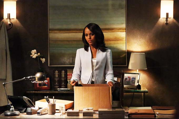 "This undated publicity photo released by ABC shows Kerry Washington as Olivia Pope in a scene from the season finale, ""White Hat's Back On,"" from ABC Television Network's show, ""Scandal."" (AP Photo/ABC, Richard Cartwright)"
