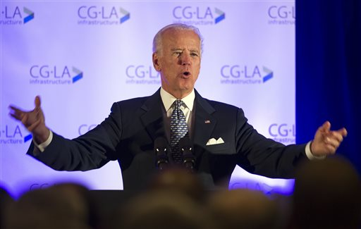 In this Tuesday, Oct. 28, 2014, file photo, Vice President Joe Biden addresses the 6th North American Strategic Infrastructure Leadership Forum welcoming reception in Washington. If the Senate splits evenly between Democrats and Republicans in next week's midterm elections, the vice president's role as the 101st senator would instantly be elevated. (AP Photo/Cliff Owen, File)
