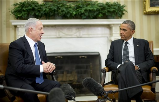 President Barack Obama meets with Israeli Prime Minister Benjamin Netanyahu in the Oval Office of the White House in Washington, Wednesday, Oct. 1, 2014. President Barack Obama and Israeli Prime Minister Benjamin Netanyahu met for the first time since a rash of civilian casualties during Israel's summer war with Hamas heightened tensions between two leaders who have long had a prickly relationship. (AP Photo/Pablo Martinez Monsivais)