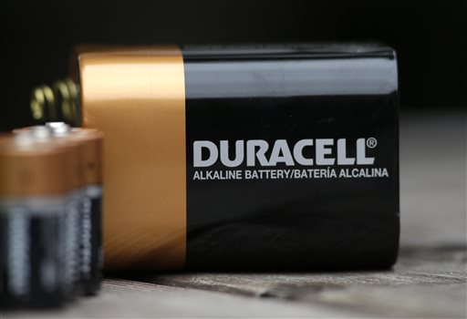 This Thursday, Nov. 13, 2014 photo shows Duracell batteries in Richardson, Texas. Warren Buffett's Berkshire Hathaway Inc. is buying the Duracell battery business from Procter & Gamble Co. in a deal valued at approximately $3 billion. (AP Photo/LM Otero)