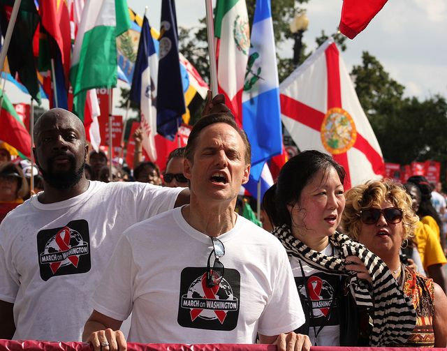 Michael Weinstein, center, at the Keep the Promise AIDS March in Washington DC on July 22, 2012. (Elvert Barnes Protest Photography/CCPL)