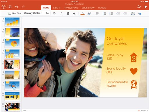 This screen shot provided by Microsoft shows the iPad version of the company's Microsoft PowerPoint app. Microsoft on Thursday, Nov. 6, 2014 released new, beefed-up versions of its popular Office software apps for iPhones and iPads, as part of the company's push to stay relevant for workers in an increasingly mobile world. (AP Photo/Microsoft)