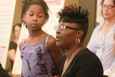 Highland Park parent Michelle Johnson, a plaintiff in the ACLU lawsuit against the state of Michigan, says students deserve a fair education.(Zenobia Jeffries/The Michigan Citizen)