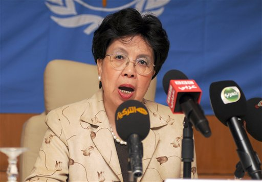 "In this Sunday, Oct. 19, 2014 file photo, Margaret Chan, Director General of the World Health Organization (WHO), addresses the media during a media conference in Gammarth, northeastern Tunisia. In a speech on Monday Nov. 3, 2014, Chan stayed away from any critical remarks about outgoing director of WHO Africa, Dr. Luis Sambo, and instead thanked him for his ""years of dedication"". (AP Photo/Adel Ben Salah, File)"