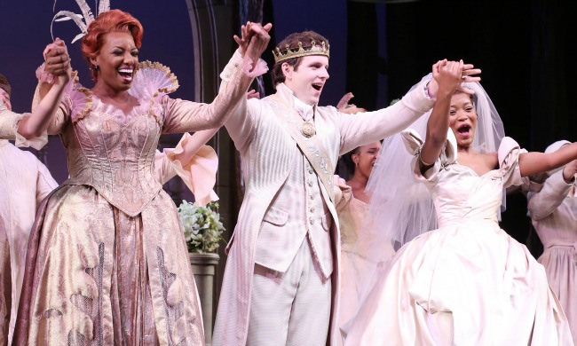 """NeNe Leakes, Joe Carroll and KeKe Palmer during the Curtain Call for """"Rodgers + Hammerstein's Cinderella"""" as she makes her Broadway Debut at The Broadway Theatre on November 25, 2014 in New York City."""
