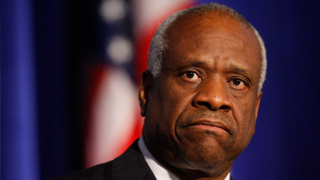 Supreme Court Justice Clarence Thomas addressed the Federalist Society in Washington in 2007. (Charles Dharapak/AP Photo)