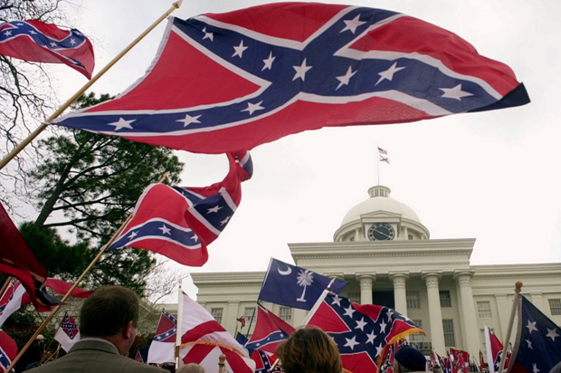 Several thousand flag waving supporters of the South rally at the Capitol in Montgomery, Ala., on Saturday, March 4, 2000. (AP Photo/Dave Martin)