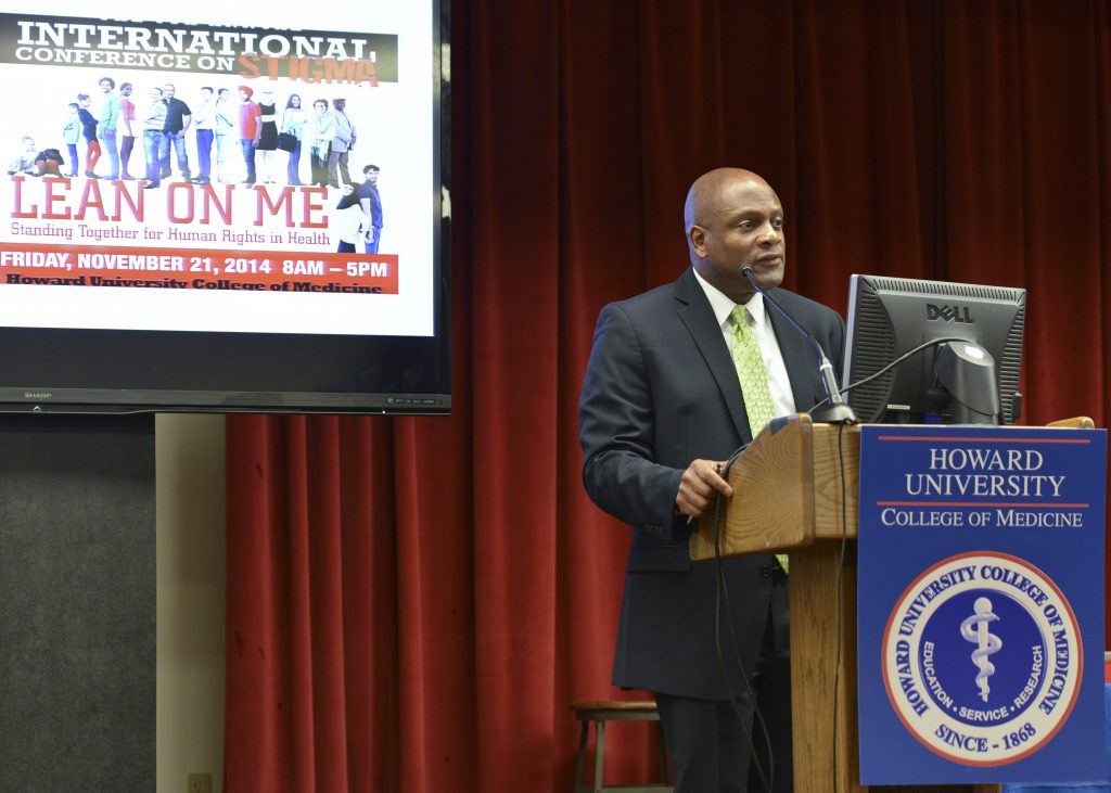 Douglas Brooks, the director of the Office of National AIDS Policy at the White House, delivers his keynote address at the International Conference on Stigma in Washington, D.C. (Freddie Allen/NNPA)