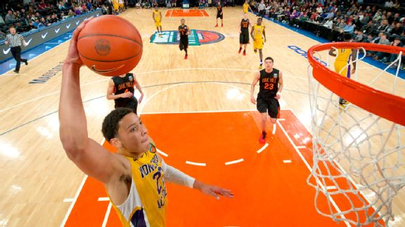 Montverde Academy forward Ben Simmons dunking against Oak Hill Academy at Madison Square Garden in the Dick's Sporting Goods Tournament in 2014. (Courtesy of Steven Ryan)