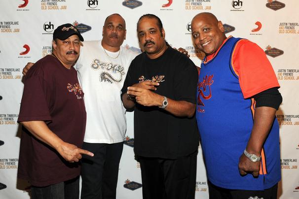 David 'Davey D' Gunthorpe, Michael 'Wonder Mike' Wright, Joey 'Master Gee' Robinson and Henry 'Big Bank Hank' Ja of the Sugar Hill Gang in 2011 in Las Vegas, Nevada. (AP Photo)