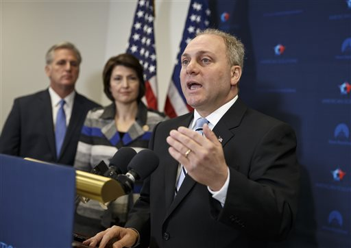 In this Nov. 18, 2014 file photo, House Majority Whip Steve Scalise of La., right, with House Majority Leader Kevin McCarthy of Calif., left, and Rep. Cathy McMorris Rodgers, R-Wash., speaks to reporters on Capitol Hill in Washington, following a House GOP caucus meeting. Scalise acknowledged that he once addressed a gathering of white supremacists. Scalise served in the Louisiana Legislature when he appeared at a 2002 convention of the European-American Unity and Rights Organization. Now he is the third-highest ranked House Republican in Washington. (AP Photo/J. Scott Applewhite, File)