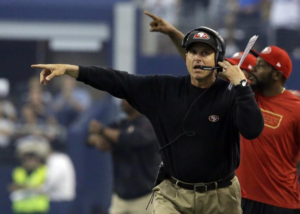 San Francisco 49ers head coach Jim Harbaugh (LM Otero/AP Photo)