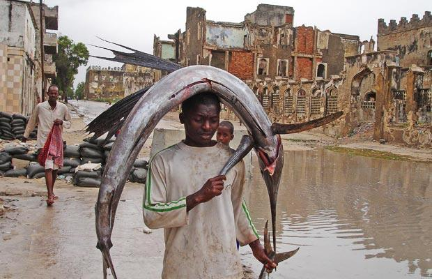 A Somali boy crosses a checkpoint with a fish on his head, in Mogadishu, Somalia (AP Photo)