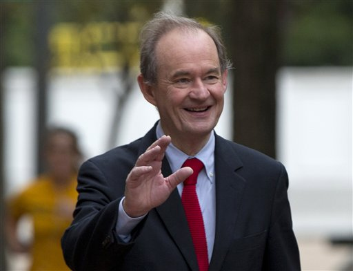 "In this Oct. 10, 2014 file photo, attorney David Boies is seen in Washington. Lawyers representing Sony Pictures Entertainment are threatening news organizations not to publish details of company files leaked by hackers in recent days, following one of the largest digital breaches ever against an American company. Boies, a prominent lawyer hired by the company, demanded Sunday that Sony's ""stolen information"" _ publicly available on the Internet by the gigabytes _ should be returned immediately because it contains privileged, private information. (AP Photo/Carolyn Kaster, File)"