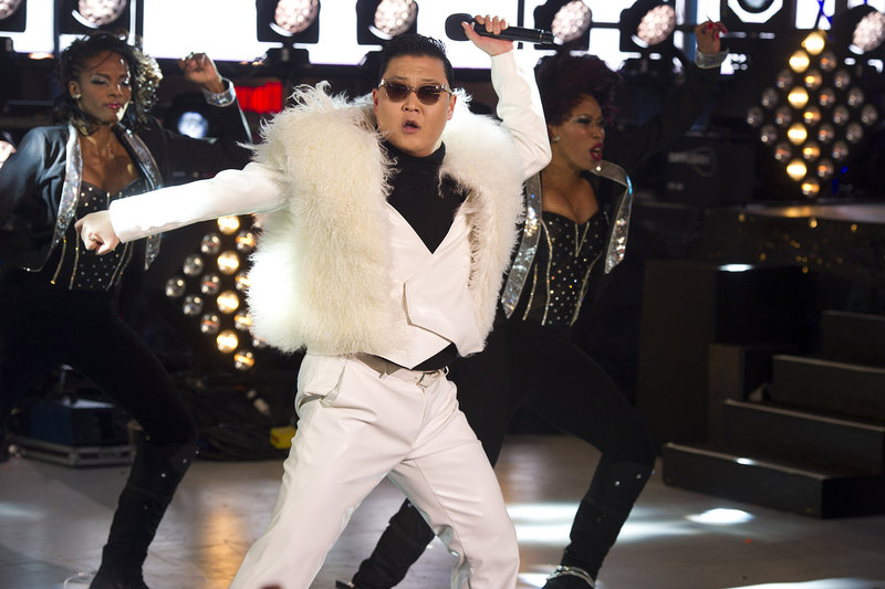 Psy performs in Times Square during New Year's Eve celebrations on Monday, Dec. 31, 2012, in New York. (Charles Sykes/AP Photo)
