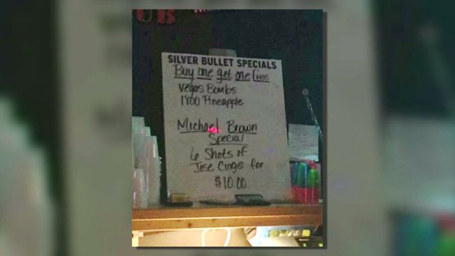 """The """"Michael Brown Special"""" advertisement at Mugshots Bar in St. Joseph, Mo. (Courtesy of Twitter)"""