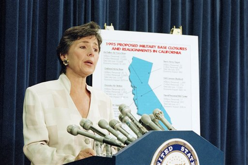 In this July 13, 1995 file photo, Sen. Barbara Boxer, D-Calif. speaks to reporters on Capitol Hill in Washington to discuss President Clinton's decision to approve the Defense base Closure and Realignment Commission base closure recommendations. Boxer, one of the chamber's most tenacious liberals, announced Thursday she will not seek re-election in 2016 to a fifth term. A staunch supporter of abortion rights, gun control and environmental protections, Boxer has said she is most proud of the vote that she cast against the war in Iraq. (AP Photo/Joe Marquette, File)
