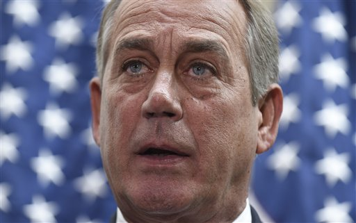 House Speaker John Boehner of Ohio speaks to reporters following a meeting on Capitol Hill in Washington, Wednesday, Feb. 25, 2015. Boehner said he's waiting for the Senate to act on legislation to fund the Homeland Security Department ahead of Friday's midnight deadline. (AP Photo/Susan Walsh)