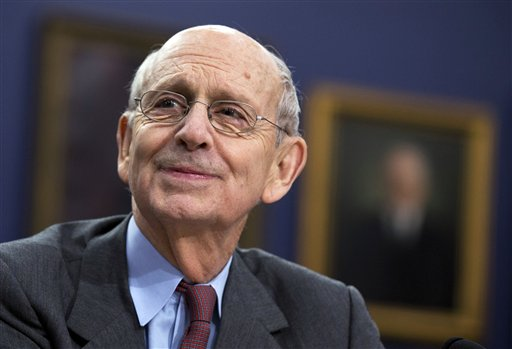 In this March 23, 2015 file photo, Supreme Court Associate Justice Stephen Breyer testifies on Capitol Hill in Washington. A divided Supreme Court on Wednesday said a lower court must take another look at whether Alabama's Republican-led legislature relied too heavily on race when it redrew the state's voting districts in a way that black leaders say limited minority voting power.  (AP Photo/Manuel Balce Ceneta, File)