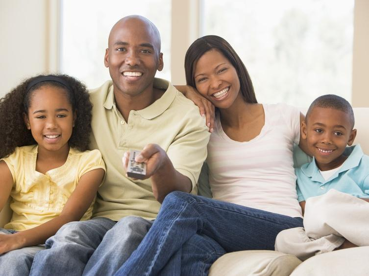 black-family-watching-tv