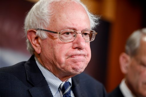Sen. Bernie Sanders, I-Vt., ranking member on the Senate Budget Committee, pauses during a news conference on Capitol Hill in Washington, Thursday, March 25, 2015, to discuss the budget. (AP Photo/Andrew Harnik)