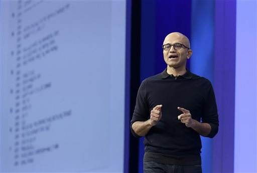 """Microsoft CEO Satya Nadella speaks at Microsoft's annual """"Build"""" conference in San Francisco, Wednesday, April 29, 2015. While Microsoft has already previewed some aspects of the new Windows 10, a parade of top executives will use the conference to demonstrate more software features and app-building tools, with an emphasis on mobile devices as well as PCs. (AP Photo/Jeff Chiu)"""