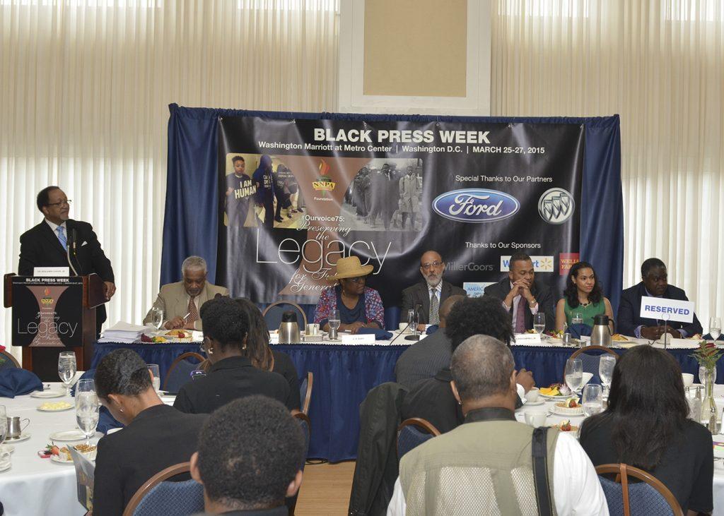 NNPA President Benjamin F. Chavis, Jr. moderates panel on the Black Press (NNPA Photo by Freddie Allen)