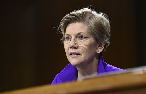 In this Feb. 24, 2015 file photo, Sen. Elizabeth Warren, D-Mass. is seen on Capitol Hill in Washington. Senate leaders said Tuesday that Democrats have enough votes to block action on President Barack Obama's trade initiatives unless the parties can work out disagreements on how to package various bills. Democratic Sen. Sherrod Brown of Ohio, a strong opponent of Obama's trade agenda, said Democrats have more than enough votes to block action for now. Senate Majority Leader Mitch McConnell, a Kentucky Republican, agreed. (AP Photo/Susan Walsh, File)