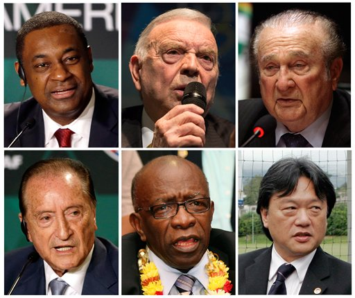FILE - This is a combo of six file photos of the soccer officials involved in the US Justice Department  of investigation into corruption at FIFA. From top left clockwise a  Jeffrey Webb: Current FIFA vice-president and executive committee member, Concacaf president,  Jose Maria Marin Current member of the FIFA organising committee for the Olympic football tournaments, Nicolas Leoz former FIFA executive committee member and Conmebol president,  Eugenio Figueredo current FIFA vice-president and executive committee member, Jack Warner, former FIFA vice-president and executive committee member, Concacaf president,  and Eduardo Li, current FIFA executive committee member-elect, Concacaf executive committee member. (AP Photo/File)