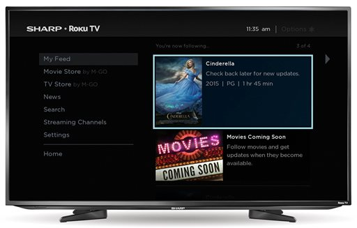 "This image provided by Roku shows the ""My Feed"" screen from the built-in Roku streaming TV service on a Sharp television.  Some TVs from Sharp and Insignia will come with Roku's streaming TV offerings built-in. Roku is now adding 43- and 50-inch screens from Sharp and 32- and 55-inch models from Insignia, which is Best Buy's in-house brand. (AP Photo/Roku)"