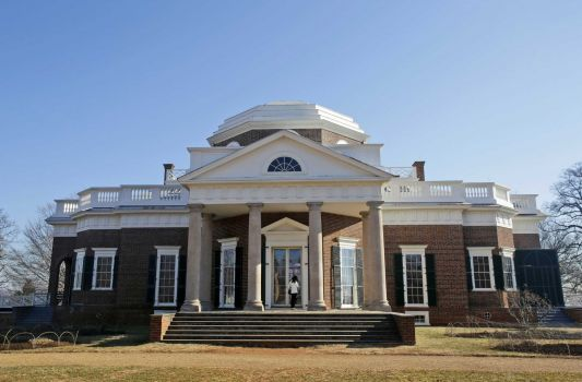 In this Feb. 7, 2014 file photo, Thomas Jefferson's Monticello home is seen in Charlottesville, Va. The first part of a restoration project that was launched two years ago with a $10 million gift from Washington philanthropist David Rubenstein will be unveiled Saturday. (Steve Helber/AP)