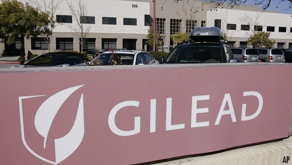 Gilead Sciences Inc. headquarters in Foster City, Calif., is seen Thursday, March 12, 2009. Biotechnology company Gilead Sciences Inc. said Thursday it will buy CV Therapeutics for about $1.4 billion as a wave of consolidation in the drug industry continues. (AP Photo/Paul Sakuma)
