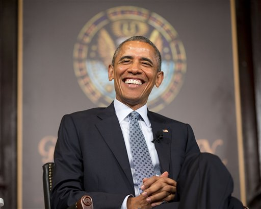 President Barack Obama smiles as he is introduced before speaking at the Catholic-Evangelical Leadership Summit on Overcoming Poverty at Georgetown University in Washington, Tuesday, May 12, 2015.  (AP Photo/Pablo Martinez Monsivais)