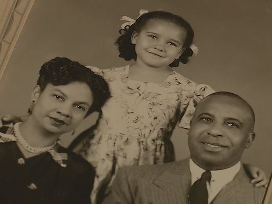 Verda Byrd, center, with her adoptive parents. Byrd did not know she was born white. She was raised as a black girl. (Byrd family photograph via KENS-TV, San Antonio)