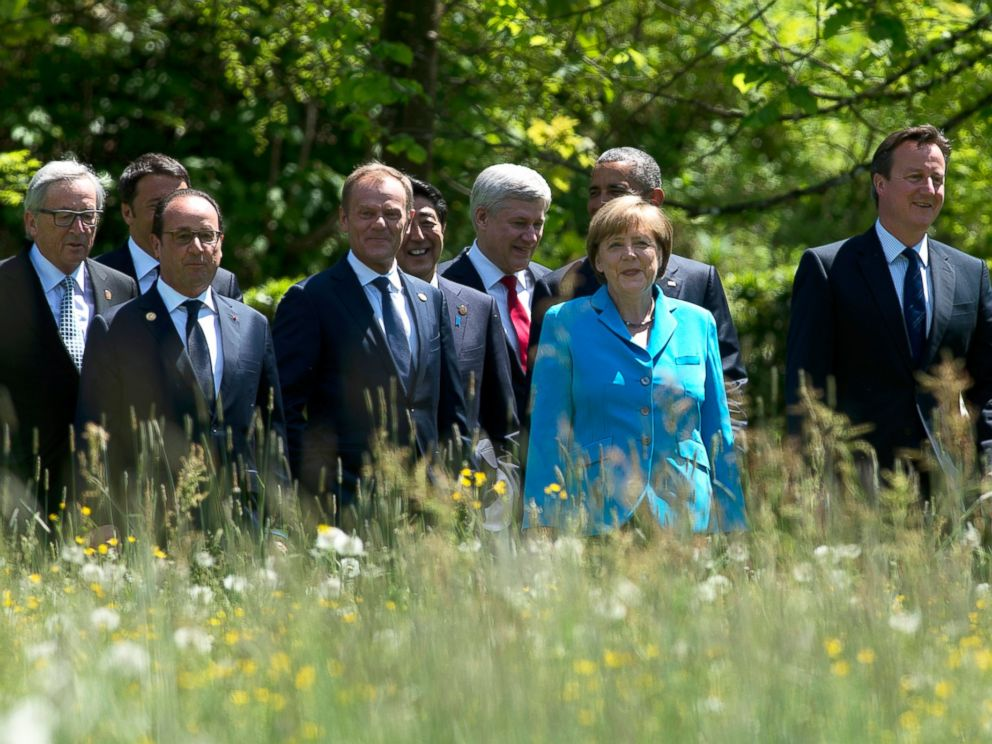 World leaders walk to a group photo near Garmisch, Germany at the G7 Summit on June 7, 2015. (Stephen Harpe/AP Photo)