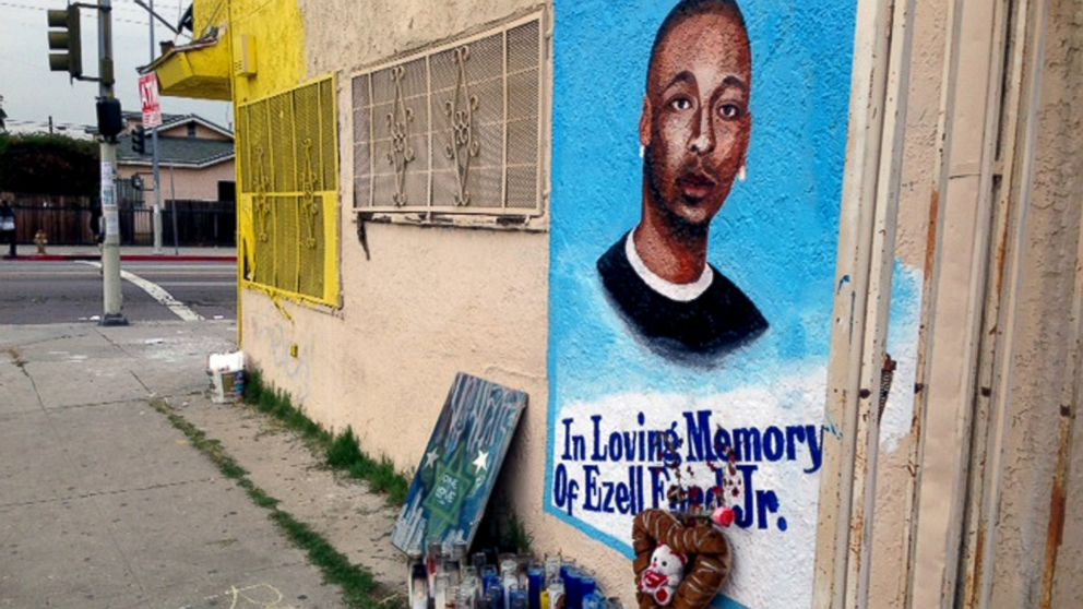 A sidewalk memorial featuring a portrait of Ezell Ford is seen near where he was shot and killed by police on a street near his home in South Los Angeles on Dec. 30, 2014. (Raquel Maria Dillon/AP Photo)