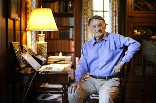 In this June 10, 2015, photo, retired attorney Jim Emison sits in his home office in Alamo, Tenn. In 2012, Emison was researching a story he planned to write about a court case when he came across an online article about two lynchings in 1937 and 1940. The latter was about Elbert Williams, a charter member of the local NAACP branch. Williams was killed by unknown assailants on June 20, 1940, more than two decades before NAACP leader Medgar Evers was gunned down by a Klansman outside his Jackson, Mississippi, home. Williams' slaying was never solved, but Emison hopes to change that. (AP Photo/Mark Humphrey)
