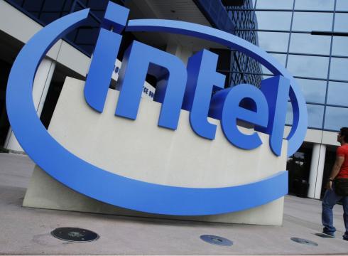The Intel logo is displayed at the entrance of Intel headquarters in Santa Clara, Calif. (AP Photo)