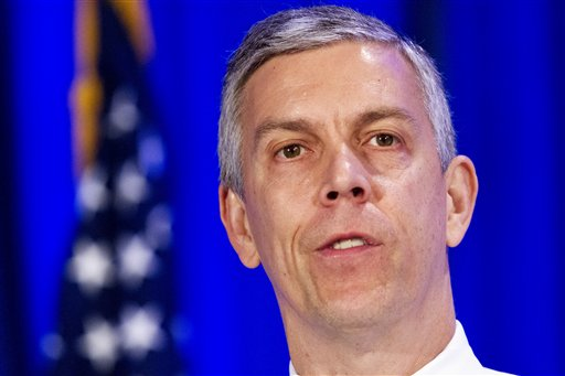 In this May 12, 2015 file photo, Education Secretary Arne Duncan speaks in Arlington, Va. The Obama administration is taking steps to expand a student aid grant program _ so prisoners would be eligible. Duncan and Attorney General Loretta Lynch have scheduled a visit to the Maryland Correctional Institution in Jessup, Md., Friday to announce the plans. (AP Photo/Jacquelyn Martin, File)