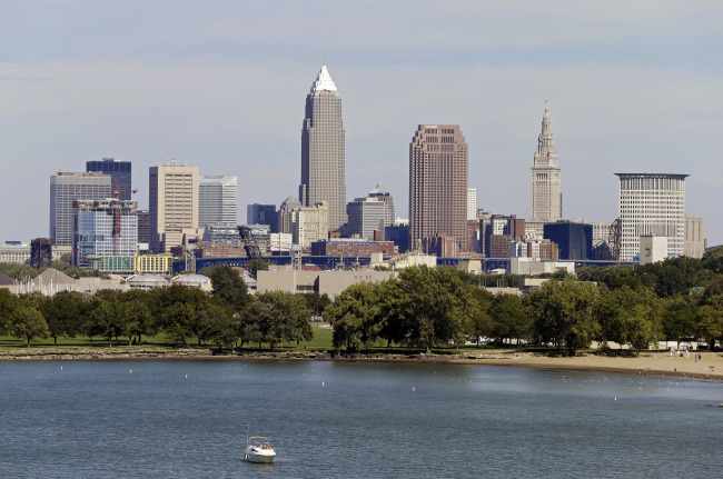 This Tuesday, Sept. 11, 2012 file photo shows the Cleveland skyline taken from Edgewater Park in Cleveland. Cleveland and Cincinnati are the two Ohio cities still in contention to host the 2016 Republican National Convention with the list of possible cities narrowed to six on Wednesday, April 2, 2014. (AP Photo/Mark Duncan, File)