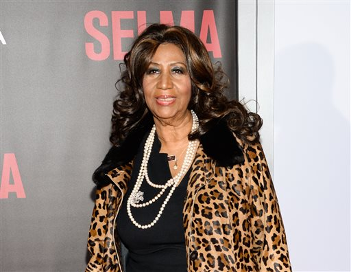 "In this Dec. 14, 2014 file photo, singer Aretha Franklin attends the premiere of ""Selma"" in New York. Franklin will perform for Pope Francis at the Festival of Families concert on Saturday, Sept. 26, 2015.  (Photo by Evan Agostini/Invision/AP, File)"