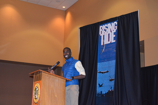 DeRay McKesson speaking at the Rising Tide X Conference, Aug. 29, 2015. (skooksie/Flickr/CC BY NC-SA 2.0)