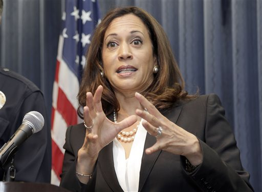 California Attorney General Kamala Harris, speaks during a news conference in Los Angeles, Wednesday, Sept. 2, 2015. The California Department of Justice on Wednesday unveiled a state-run website to provide data on law enforcement's interactions with the public. The database is the culmination of months of work aimed at improving transparency and government accountability after incidents sparked debate across the country on police practices over the last year. (AP Photo/Nick Ut)