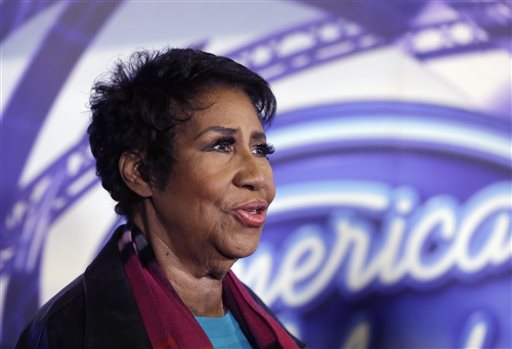 """In a March 4, 2015, file photo, singer Aretha Franklin is interviewed after a taping for American Idol XIV at The Fillmore Detroit. A federal judge in Denver on Friday, Sept. 4, 2015, blocked the scheduled screening at the Telluride Film Festival of the film """"Amazing Grace,"""" which features footage from 1972 of a Franklin concert, after the singer objected to its release. (AP Photo/Carlos Osorio, File)"""