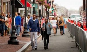 Black shoppers walk down M Street NW in Washington, D.C., browsing through stores in the Georgetown neighborhood. (Georgetown Business Improvement District)