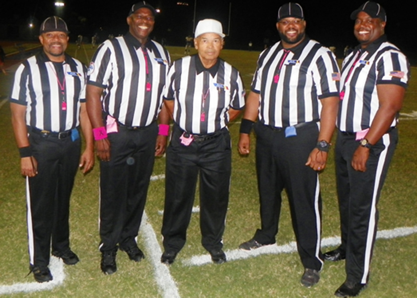 "Arizona's first and only all-Black high school football officiating crew (left to right) Stefan Smith, Leslie ""Scooter"" Melvin, Howard Horton Jr., George Woods Jr., and Robert Frazier. (Vincent Crawford/Arizona Informant)"