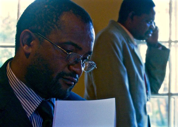 "Douglas Mwonzora and Paul Mangwana in ""Democrats."""
