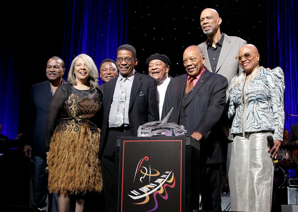 (L-R) Billy Dee Williams, Patti Austin, George Benson, Herbie Hancock, Al Jarreau, Herbie Hancock Humanitarian Award reciepient Quincy Jones, Kareem Abdul-Jabbar, and Dee Dee Bridgewater speak onstage during the Thelonious Monk Institute International Jazz Vocals Competition 2015 a tribute to Quincy Jones held at Dolby Theatre on November 15, 2015 in Hollywood, Calif. (Rachel Murray/Getty Images/Thelonious Monk Institute of Jazz)