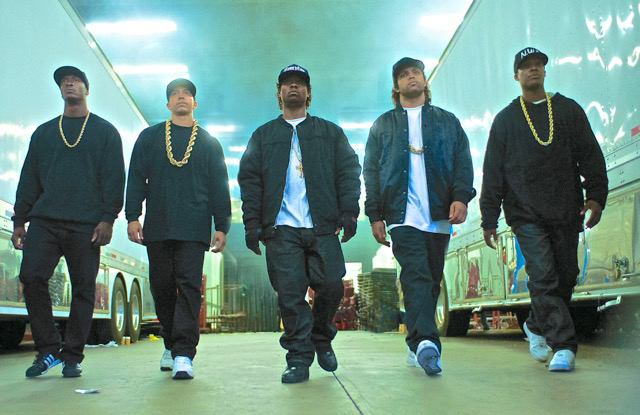 """Dwight Brown says that """"Straight Outta Compton""""This is a full-fledged, big-budget looking homage to the L.A. rap scene, that smartly, emotionally and historically capsulizes the life and times of Eazy-E, Ice Cube, Dr. Dre. (Lionsgate)"""