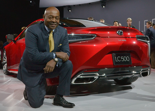 Perry Watson, the chairman of the National Association of Minority Auto Dealers, pauses for a photo-op next to the Lexus LC 500 at the North American International Auto Show in Detroit, Mich. (Freddie Allen/AMG/NNPA News Wire)